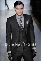 TOP sell Free shipping\custom made cheap Classic dress Notch Lapel dark gray Wedding Groom wear Tuxedos Groomsmen Men's for suit