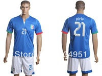 free shipping 2013/14 Italy national team Andrea Pirlo #21 mens football soccer jerseys+shorts embroidery customize logo blue