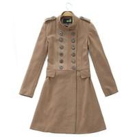 FS new 2014 winter autumn -summer jaquetas original brand long sleeve wool breasted woolen trench ruffles coat for women