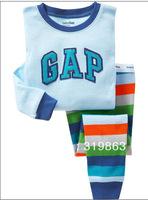 Wholesale blue sleep suit baby color stripes kids Pajamas set blue top& color stripes pants suit boys sleep set(2-7t)6sets/lot
