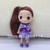 Free Shipping,Wholesale(20pcs/lot) 12CM Very Cute Girls' Vinyl Ddung Doll With Plaid Dress Key Chain