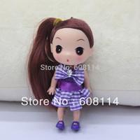 Free Shipping,Wholesale(20pcs/lot) 12CM Very Cute Girls' Vinyl Ddung Doll With Plaid Dress Key Chain