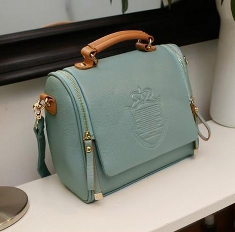 PU leather Candy Color Double zipper crown fashion women shoulder bag women leather handbags women messenger bags women handbag(China (Mainland))