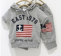 free shipping retail 100% cotton kid sport suit,digit 1978 The American National Flag baby outerwear,boy and girl clothes 2 set