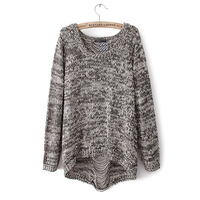 Autumn Womens Pullover Fashion Knit Sweater Back Hole Grey/Black M/L