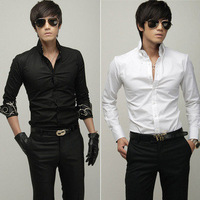 Slim long-sleeve shirt male shirt silks and satins trigonometric shirt