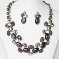2013 New Fashion  Antique Silver Plated Black Cat Eye + Hematite Rhinestones Jewelry Set  ( Necklace + Earrings ) Free Shipping
