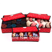 New fashion living room 3 pcs multi division plate Underwear  bra with cover storage box set