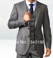 custom made cheap New Style dark Grey Groom Tuxedos Best Man Peak Lapel Groomsmen Men Wedding Bridegroom wear dress/men's suits