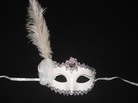 Free shipping Christmas masquerade party supplies ostrich wool white feather colored drawing masks princess mask