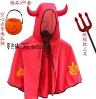 Free shipping Halloween child clothes little demon of pumpkin horn mantissas trigonometric fork lamp bucket set