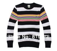 Free shipping!Brand long-sleeved round collar stripe pullovers man winter coats to keep warm sweater