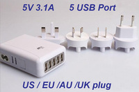 5 Ports USB Home Travel Wall AC Adapter EU/US/UK/AU Plug Charger 5V 3.1A for iphone ipad Samsung Galaxy S3/S4 1pcs Free Shipping