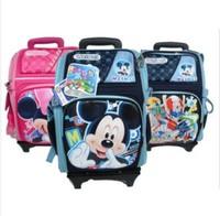 Baby boys girls cartoon minnie mickey snowhite school bag with wheels/backpack trolley luggage case/travel book bag detachable
