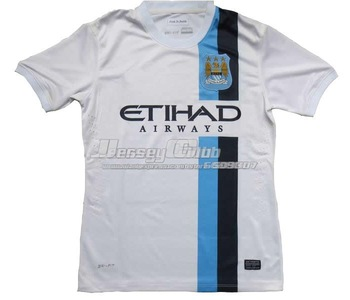 2014 Top quality Manchester city jersey,Free shipping Manchester soccer jersey away white with holes T shoulder embroidery logo