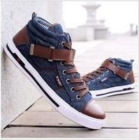 2013 autumn male medium cut canvas  denim lacing cloth shoes velcro canvas  breathable