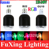 High Power E27 GU10 B22 10W  RGB LED Light  Color Changing Voice Music Control Party LED Bulb Lamp with IR Remote