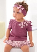 Hot selling Design 2013 New Purple Baby Girl 3-piece set: bowknot headband + Shirt + Floral Printed Shorts,free shipping