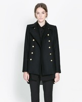 Autumn/Winter Womens Clothing Wool Blends Coat Double-breasted Designer Brand Black S/M/L
