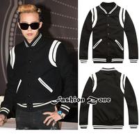 spring & fall Star Style bigbang GD Black with white men's baseball fashion jackets/sport coat/boys casual motorcycle jackets