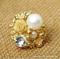 (Minimum order $10) 2014 new J120 Korean jewelry stereoscopic pearl rings ring openg wholesale roses women fashion 3pcs