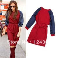 Free Shipping 2013 New Fashion Autumn Winter Women Dress Victoria Beckham , Red Blue Knee Length Dress Long Sleeve