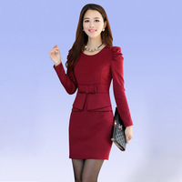 M L XL XXL Free Shipping Hot Sale 2014 new Fashion Full Sleeve Autumn and Winter office Dress Womens Clothing Maxi Dresses 330S