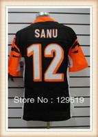 Free Shipping Discount American Football Cincinnati #12 Mohamed Sanu Black/White Elite Jerseys, Emboridery Number, Name and Logo