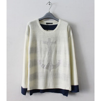 6xl 5xl 4xl bust 128cm 120cm autumn and winter rhinestone pasted anchor loose sweater plus size available