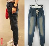 5xl 4xl hip 124cm 120cm autumn and winter plus size clothing mm loose jeans plus size plus velvet thermal harem pants