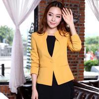 New 2014 Autumn and Winter Formal Women Jacket Blazers Yellow Slim Fashion Ladies Coat Uniform Work Wear Free Shipping