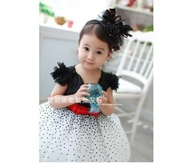 Free shopping  princess dress black and white female child one-piece dress tulle dress western dress