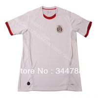Free shipping 100% Polyester 2013 14 Thailand quality Mexico football shirts away white Mexico soccer jerseys