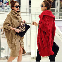 Free shipping winter sweater cardigan women sweater fashion turtleneck bat wing sleeve coat