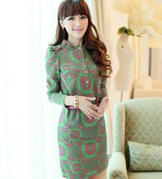 Autumn Large Size Slim Single-breasted Stand-collar Long Sleeve Bohemian Dress Free Shipping LJ750