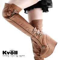 Ms. Buckle Wedge Boots Ladies sexy fashion boots with thick soles slope jackboot 13cm high with sexy buckle wholesale and retail