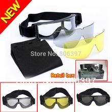 2013 New Hotsale USMC Airsoft X800 Tactical Glasses Goggles GX1000 Black 3 Lens(China (Mainland))
