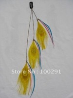 FASHION YELLOW color Peacock feather HAIR extension clips,freeshipping by DHL