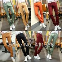 Free shipping 6 Colors 2013 New Arrival Korean Fashion Skinny Jeans Men Slim Fit Leggings Denim Pants Multi-colored  Candy Pants