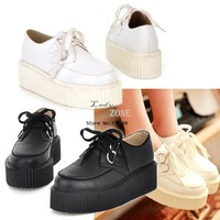 2013 Autumn Fashion Ladies Women's Round Toe Synthetic Leather High Platform Shoes Retro Flat Shoes 13213