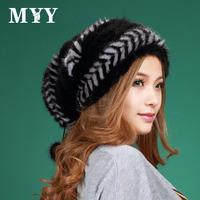 2013 winter mink woven bag cap fur women's ear thermal turban cap for adults