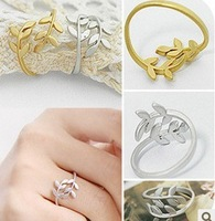 free shipping Korean Gold Silver Color  Leaves  Ring