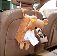 New arrival car tissue bag plush cartoon tissue pumping relaxed bear doll car tissue box decoration
