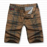 Plus size trousers big , super big fat man pants fashion 100% cotton plaid shorts plus size shorts knee-length pants