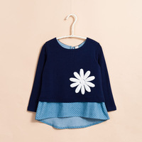 Children's clothing autumn 2013 child baby female child T-shirt long-sleeve top faux two piece sweatshirt dress