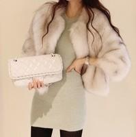 Faux women's fashion artificial fox fur faux wool fashion outerwear