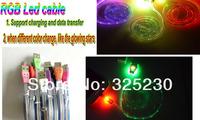 30pc/lot RGB LED flashing Smile face Mirco 5 pin V8 1m Sync USB Cable for Samsung HTC Blackberry NOKIA LG sony free shipping
