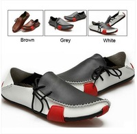 Mens Casual Shoes Genuine Leather Driving Moccasins Slip On White Brown Grey Black EUR SIZE 39 40 41 42 43 44 45 46 47