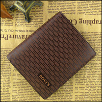 Free shipping,Classic Grid Stripes  Men's money clip,  Brown High Quality PU Leather Wallet   Purse, Vertical and Cross-section