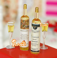 iland 1/12 Dollhouse Miniature Food Champagne Two Bottles with cups Free shipping